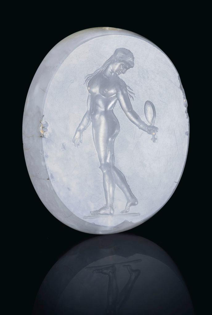 Греческий синий халцедон скарабей с Афродитой